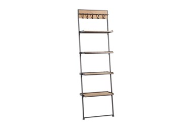 68 Inch Metal + Wood Leaner Shelf With Hooks