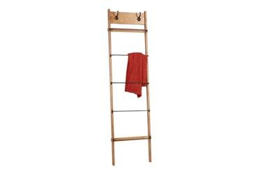 76 Inch Metal + Wood Blanket Ladder With Hooks