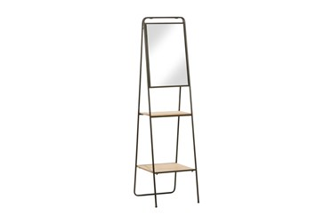 65 Inch Iron + Wood A Frame Shelf With Mirror