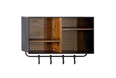 23X15 Inch Iron + Wood Cubbie Wall Shelf With Hooks