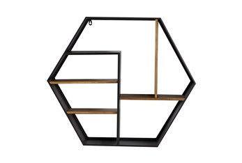 30X26 Inch Metal + Wood Hexagon Cubbie Wall Shelf