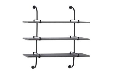38X39 Inch Metal + Wood Plank 3 Tier Wall Shelf