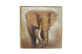 47X47 Inch Framed Elephant Canvas Wall Art