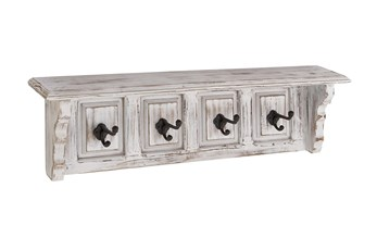 31 Inch White Wood Mantel Wall Shelf With Hooks