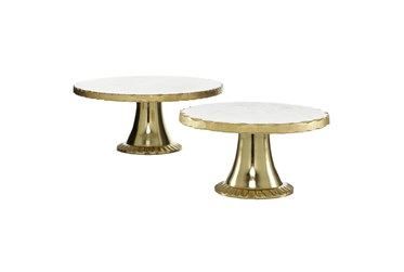 12 & 10 Inch Wide Gold + Marble Cake Stand- Set Of 2