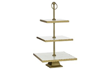 22 Inch Gold + Marble Square 3 Tier Server