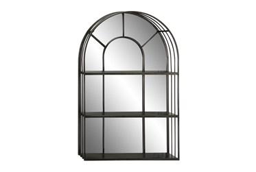 24X36 Inch Iron Arch Window Pane 3 Tier Mirrored Wall Shelf