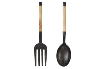 35 Inch Metal + Wood Fork And Spoon 2Pc Wall Decor