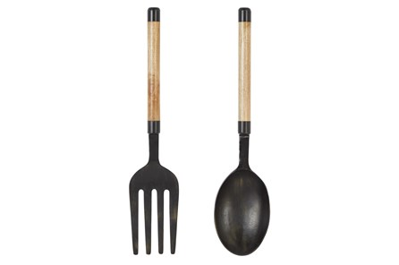 35 Inch Metal + Wood Fork And Spoon 2Pc Wall Decor - Main