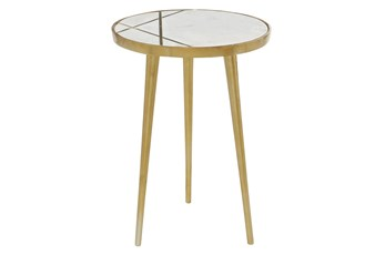 20 Inch Marble + Gold Round Accent Table With Geometric Inlay