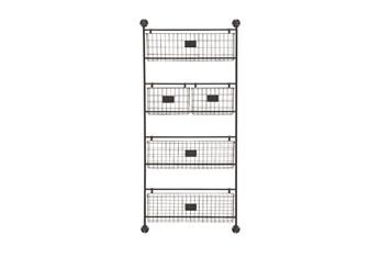 61 Inch Black Metal Hanging Basket 4 Tier Wall Decor