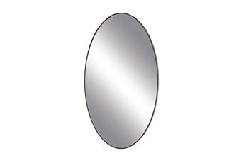 32X17 Inch Black Wood Oval Wall Mirror