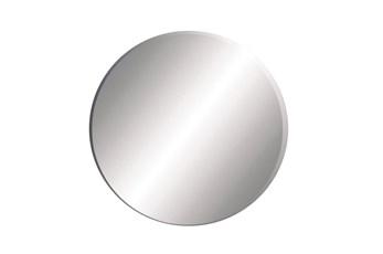 24X24 Inch Black Wood Round Wall Mirror