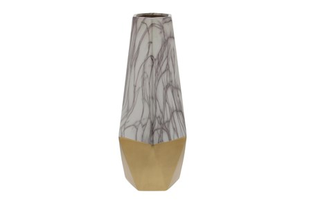 18 Inch Gold + White Marblized Faceted Vase - Main
