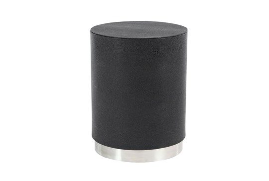 18 Inch Black + Silver Shagreen Round Drum Accent Table