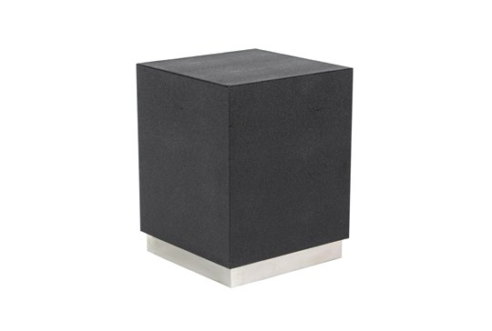 18 Inch Black + Silver Shagreen Square Accent Table