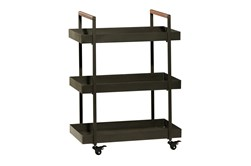 34 Inch Iron + Wood Rectangular Tray 3 Tier Bar Cart