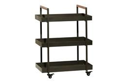 34 Inch Iron + Wood Rectangular Tray 3 Tier Bar Cart