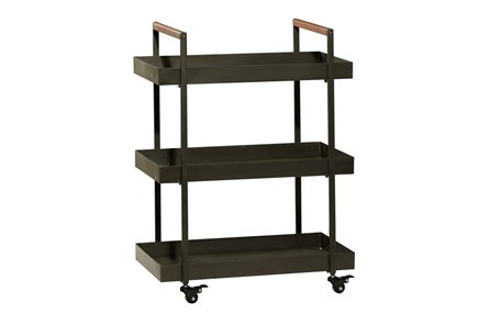 34 Inch Iron + Wood Rectangular Tray 3 Tier Bar Cart - Main
