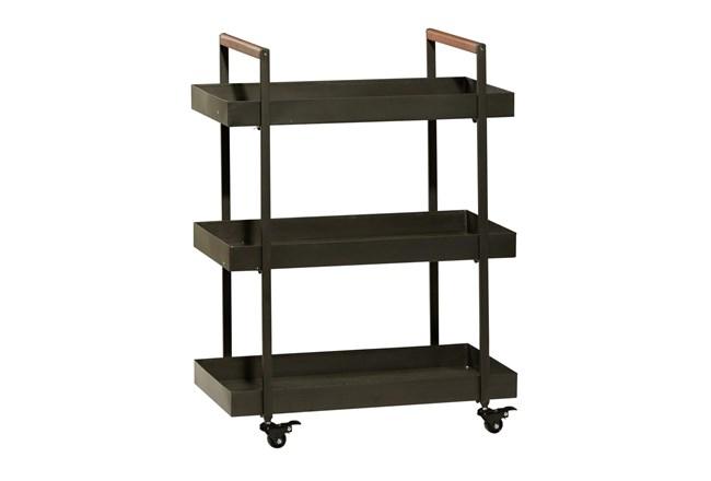 34 Inch Iron + Wood Rectangular Tray 3 Tier Bar Cart - 360