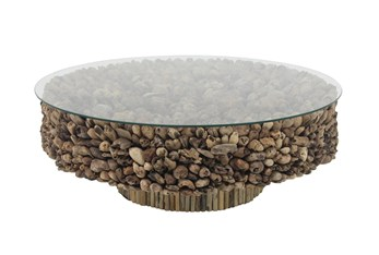 48 Inch Round Driftwood Pedestal Base Coffee Table With Glass Top