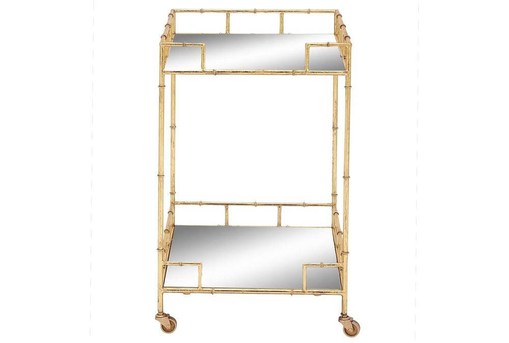 30 Inch Gold + Mirror Bamboo Detail Square Bar Cart