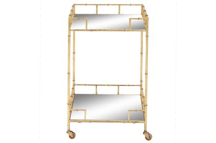 30 Inch Gold + Mirror Bamboo Detail Square Bar Cart - Main