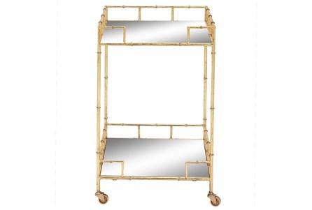 30 Inch Gold + Mirror Bamboo Detail Square Bar Cart - Main