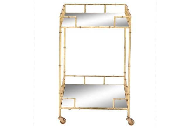 30 Inch Gold + Mirror Bamboo Detail Square Bar Cart - 360