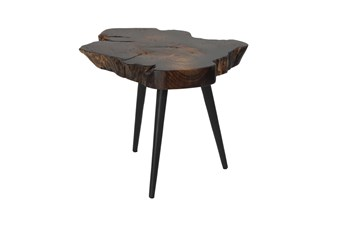 18 Inch Brown Live Edge Wood Slice Accent Table