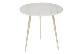 20 Inch Marble + Gold Round Accent Table With Square Inlay