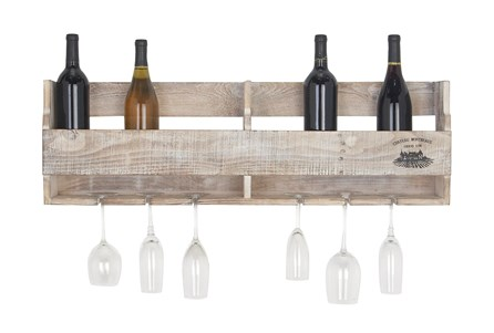 36 Inch Wood Crate Wall Hanging Wine Holder - Main