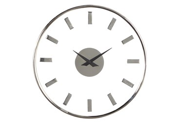 14X14 Inch Silver Metal + Glass Contemporary Round Wall Clock
