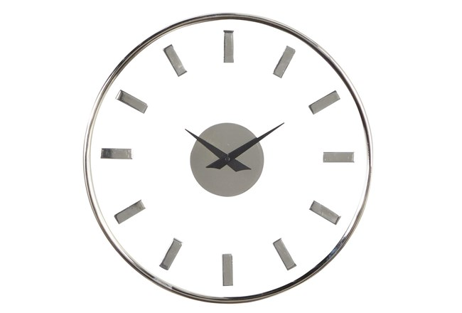 14X14 Inch Silver Metal + Glass Contemporary Round Wall Clock - 360