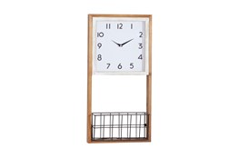 12X24 Inch Wood Wall Clock With Metal Basket