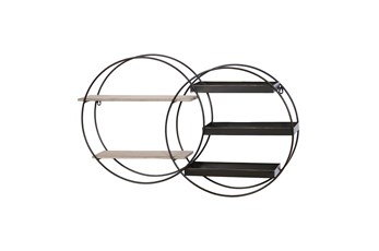 34X20 Inch Metal + Wood Double Circle Wall Shelf