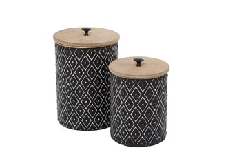11 & 9 Inch Black Metal Diamond Canister With Wood Lid-Set Of 2