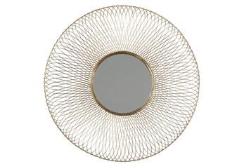 40X40 Inch Gold Wire Round Wall Mirror