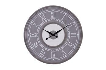 30X30 Inch Grey Wood Bead Trim Round Wall Clock
