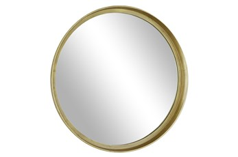 36X36 Inch Brass Framed Round Mirror