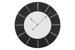 30X30 Inch Black Faux Leather Round Wall Clock