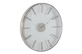 30X30 Inch Silver Metal + Glass Round Wall Clock