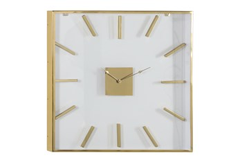 30X30 Inch Gold Metal + Glass Square Wall Clock