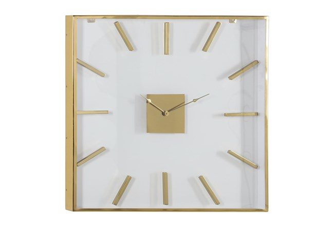 30X30 Inch Gold Metal + Glass Square Wall Clock - 360