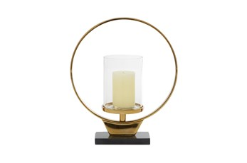 15 Inch Gold Ring Pillar Candle Holder On Stand