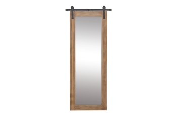 34X71 Inch Wood + Metal Barn Door Wall Mirror