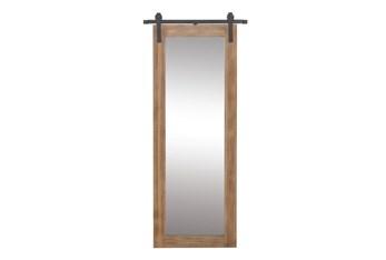 34X71 Inch Wood + Metal Barn Door Wall Mirror
