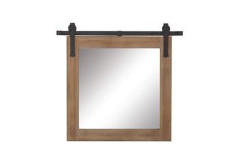 31X31 Inch Wood + Metal Barn Door Wall Mirror