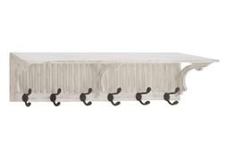 36 Inch White Wood Slatted Wall Shelf With Hooks