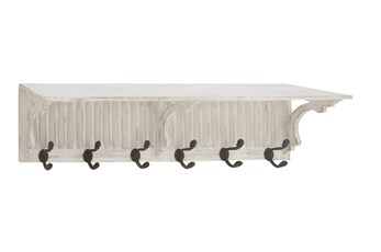 36 Inch White Wood Slatted Wall Shelf With Hooks